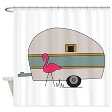 Camper Flamingo Shower Curtain