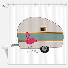 Camper Flamingo Shower Curtain