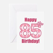 Happy 85th Birthday - Pink Argyle Greeting Card
