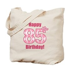 Happy 85th Birthday - Pink Argyle Tote Bag