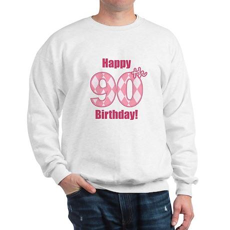 Happy 90th Birthday - Pink Argyle Sweatshirt