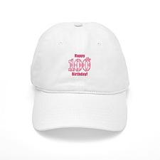 Happy 100th Birthday - Pink Argyle Baseball Baseball Cap