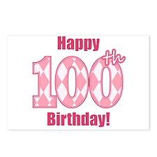 Happy 100th Birthday - Pink Argyle Postcards (Pack