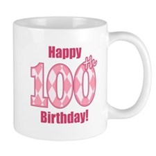 Happy 100th Birthday - Pink Argyle Mug