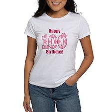 Happy 100th Birthday - Pink Argyle T-Shirt