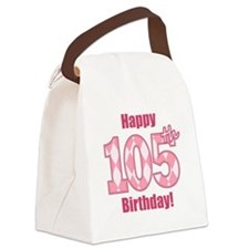 Happy 105th Birthday - Pink Argyle Canvas Lunch Ba