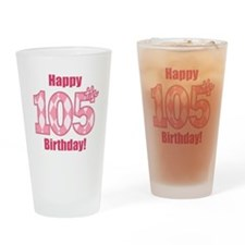 Happy 105th Birthday - Pink Argyle Drinking Glass