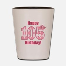 Happy 105th Birthday - Pink Argyle Shot Glass
