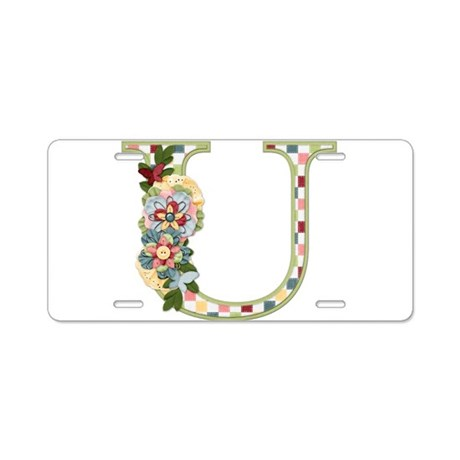 Monogram Letter U Aluminum License Plate