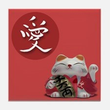 Japanese Fortune Cats Tile Coaster - Love