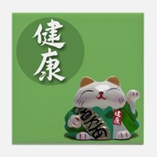Japanese Fortune Cats Tile Coaster - Good Health