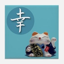 Japanese Fortune Cats Tile Coaster - Happiness