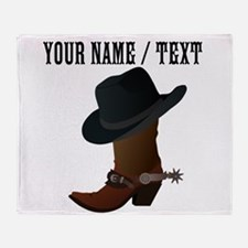 Custom Cowboy Boot And Hat Throw Blanket
