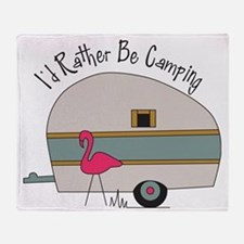 Id Rather Be Camping Throw Blanket