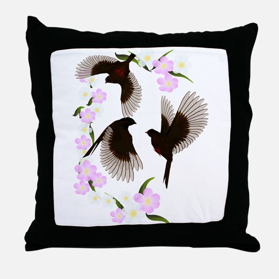 Three Sparrows Trans Throw Pillow