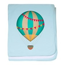 Hot air balloon blue baby blanket
