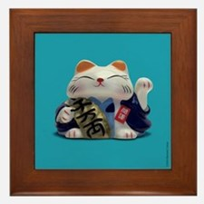 Japanese Fortune Cats Framed Tiles - Turquoise