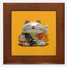 Japanese Fortune Cats Framed Tiles - Yellow