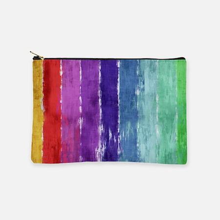 Geometric Stripes Watercolor Makeup Bag