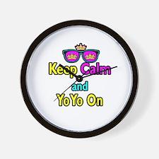 Crown Sunglasses Keep Calm And YoYo On Wall Clock