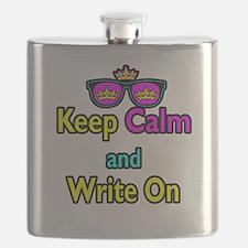 Crown Sunglasses Keep Calm And Write On Flask