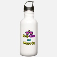 Crown Sunglasses Keep Calm And Weave On Water Bottle
