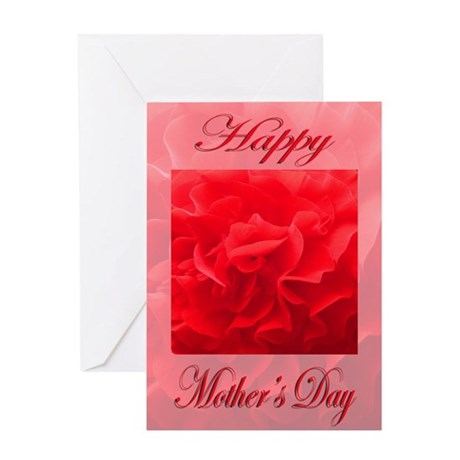 red flower with background m Greeting Card