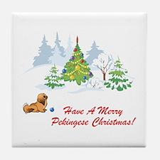 Merry Pekingese Christmas Tile Coaster