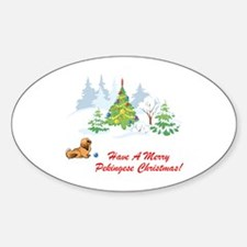 Merry Pekingese Christmas Oval Decal