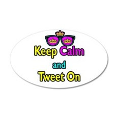 Crown Sunglasses Keep Calm And Tweet On Wall Decal