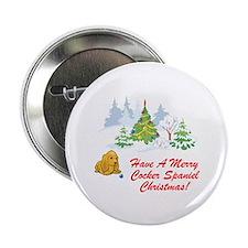 Christmas Cocker Spaniel Button