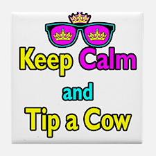 Crown Sunglasses Keep Calm And Tip a Cow Tile Coas