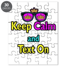 Crown Sunglasses Keep Calm And Text On Puzzle