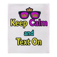 Crown Sunglasses Keep Calm And Text On Throw Blank