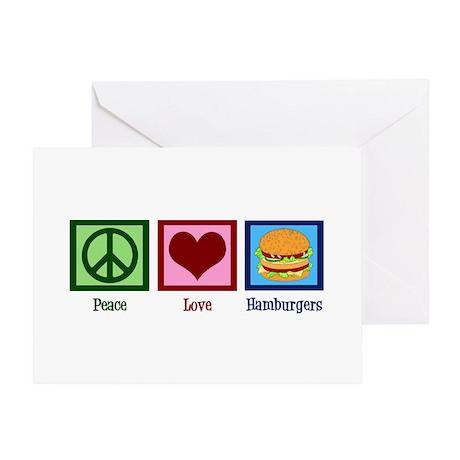 Peace Love Burgers Greeting Card