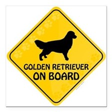 "Golden On Board Square Car Magnet 3"" x 3"""