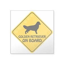 "Golden On Board Square Sticker 3"" x 3"""