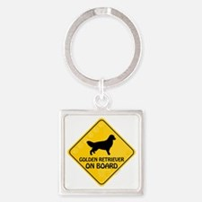 Golden On Board Square Keychain