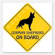 "German Shepherd On Board Square Car Magnet 3"" x 3"""