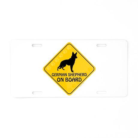 German Shepherd On Board Aluminum License Plate