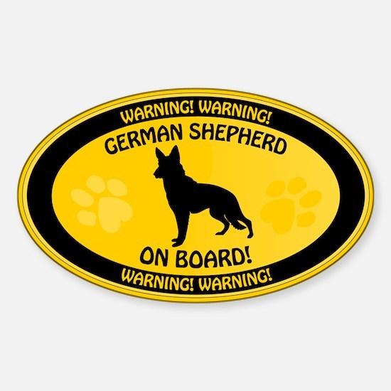 German Shepherd On Board 2 Sticker (Oval)