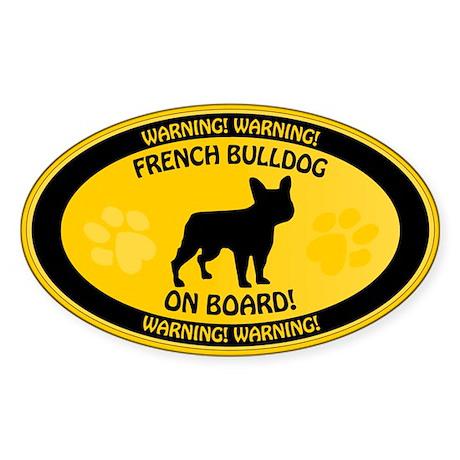French Bulldog On Board 2 Sticker (Oval)