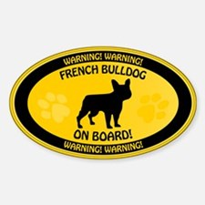 French Bulldog On Board 2 Sticker (Oval)