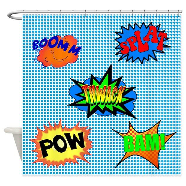 Pow superhero shower curtain by walela for Superhero shower curtain