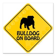 "Bulldog On Board Square Car Magnet 3"" x 3"""