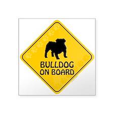 """Bulldog On Board Square Sticker 3"""" x 3"""""""