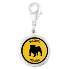 Bulldog Person Silver Round Charm