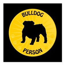 "Bulldog Person Square Car Magnet 3"" x 3"""