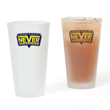Never Give Up! Never Surrender! Drinking Glass
