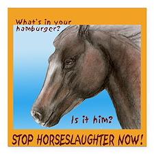 "horse burger Square Car Magnet 3"" x 3"""